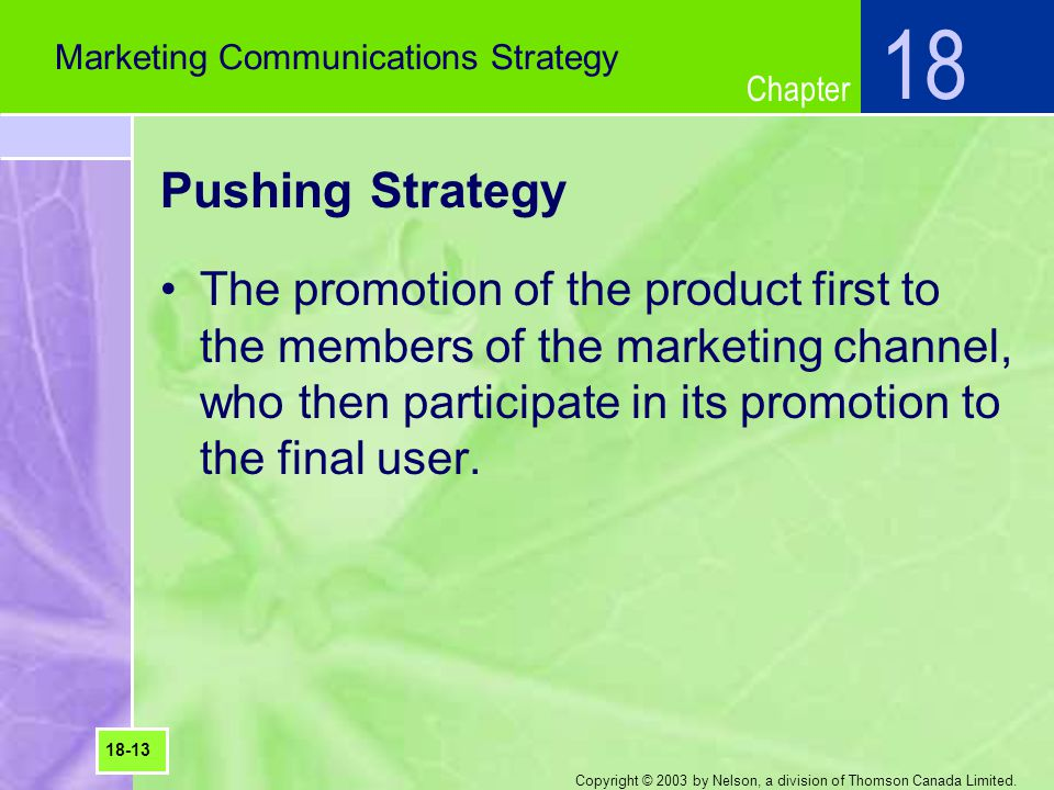 18 Marketing Communications Strategy. Pushing Strategy.