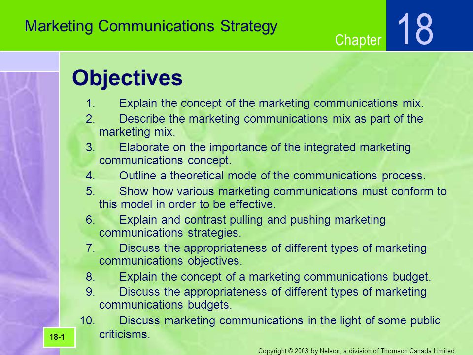 18 Objectives Marketing Communications Strategy