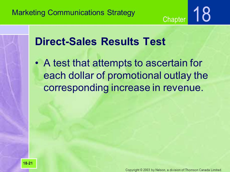 Direct-Sales Results Test