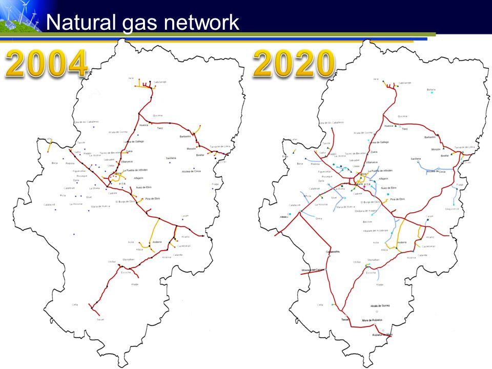 Natural gas network 2004 2020