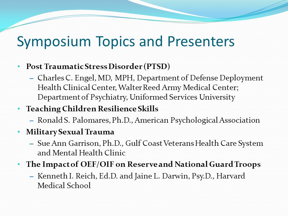 Symposium Topics and Presenters