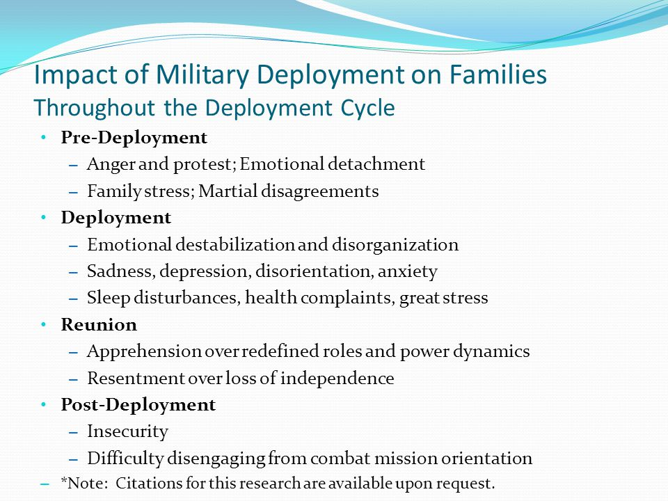 Impact of Military Deployment on Families Throughout the Deployment Cycle