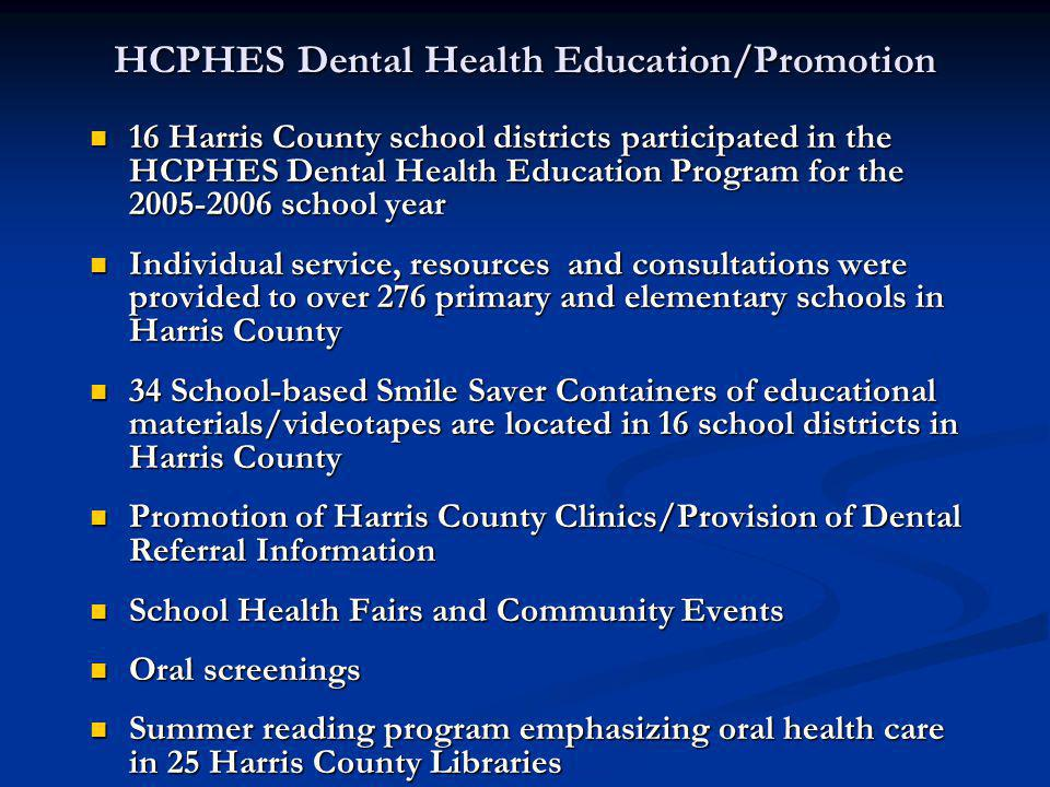 HCPHES Dental Health Education/Promotion