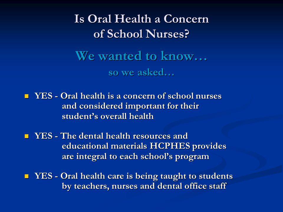 Is Oral Health a Concern of School Nurses