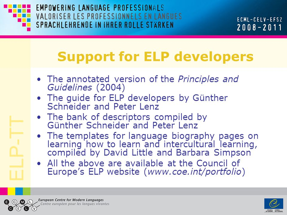 Support for ELP developers