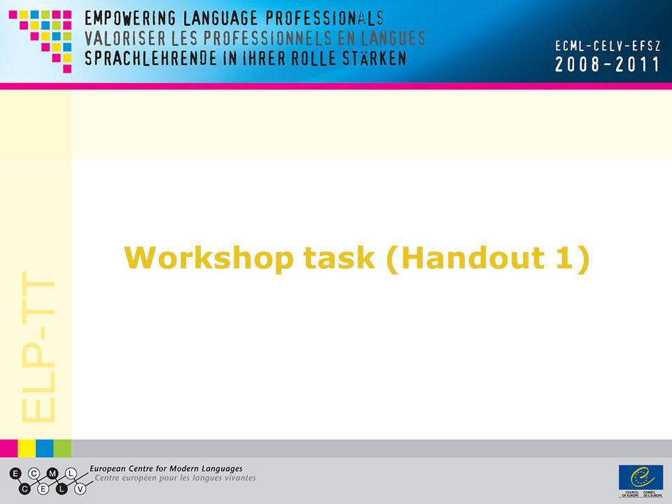 Workshop task (Handout 1)