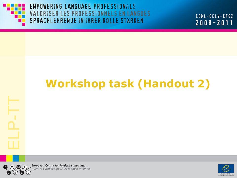 Workshop task (Handout 2)
