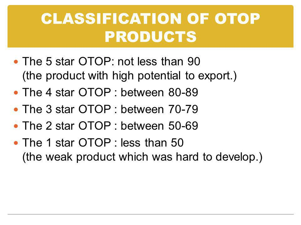 CLASSIFICATION OF OTOP PRODUCTS