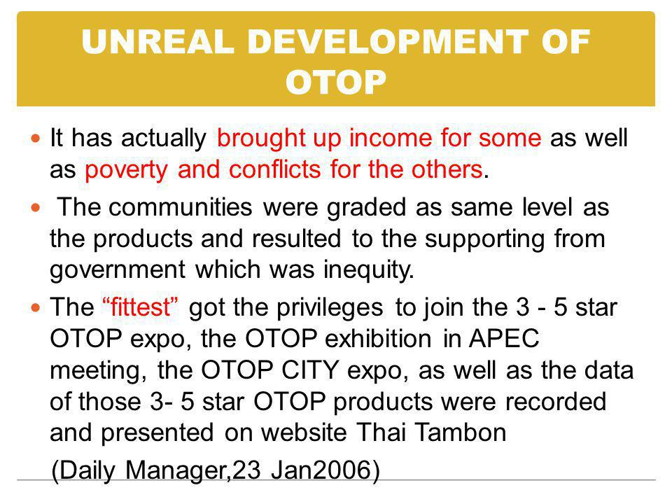 UNREAL DEVELOPMENT OF OTOP