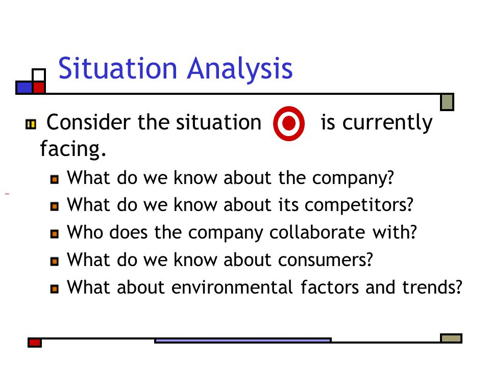 Situation Analysis Consider the situation is currently facing.
