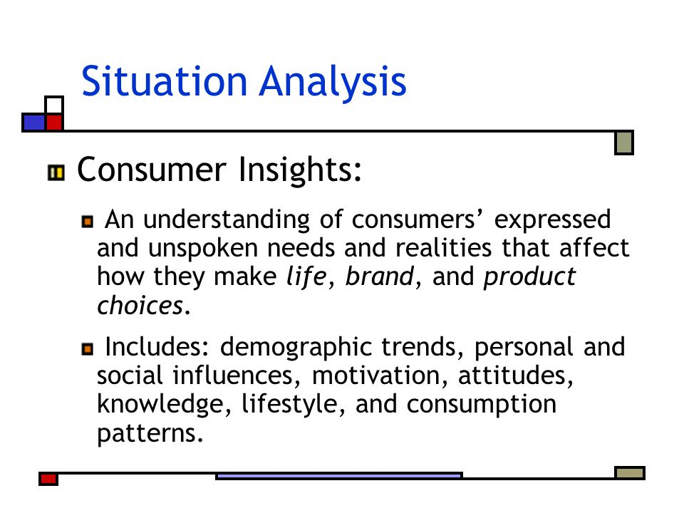 Situation Analysis Consumer Insights: