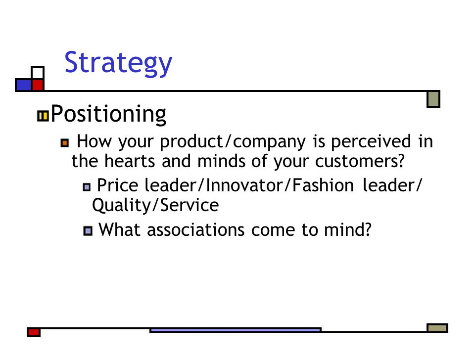 Strategy Positioning. How your product/company is perceived in the hearts and minds of your customers