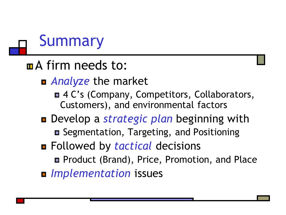 Summary A firm needs to: Analyze the market