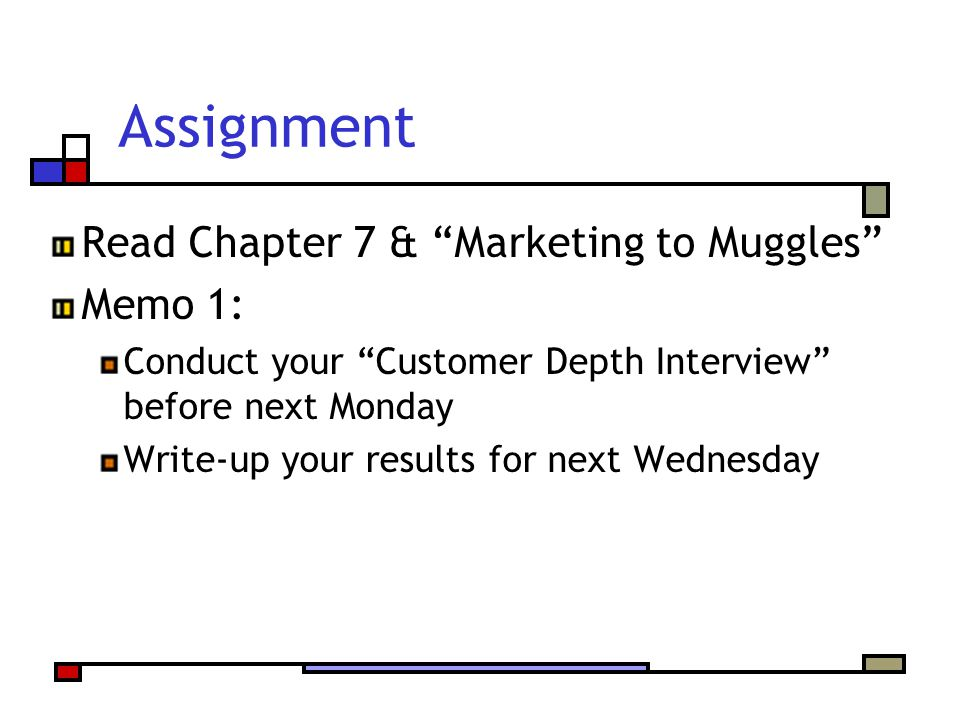 Assignment Read Chapter 7 & Marketing to Muggles Memo 1: