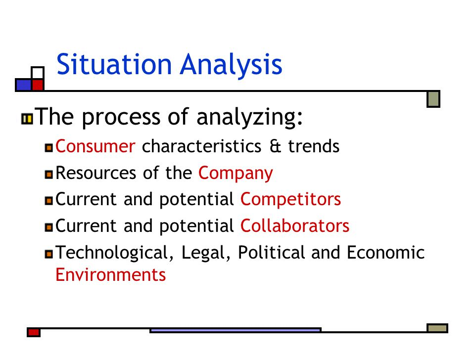 Situation Analysis The process of analyzing: