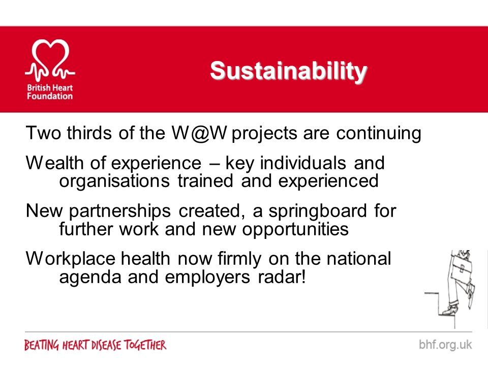 Sustainability Two thirds of the W@W projects are continuing