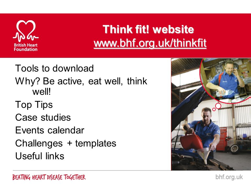 Think fit! website www.bhf.org.uk/thinkfit