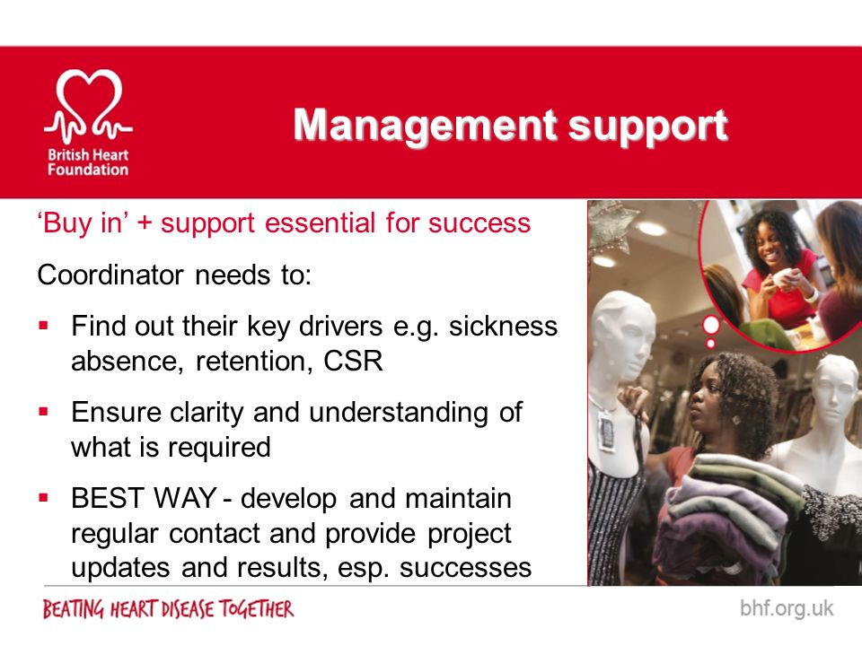 Management support 'Buy in' + support essential for success