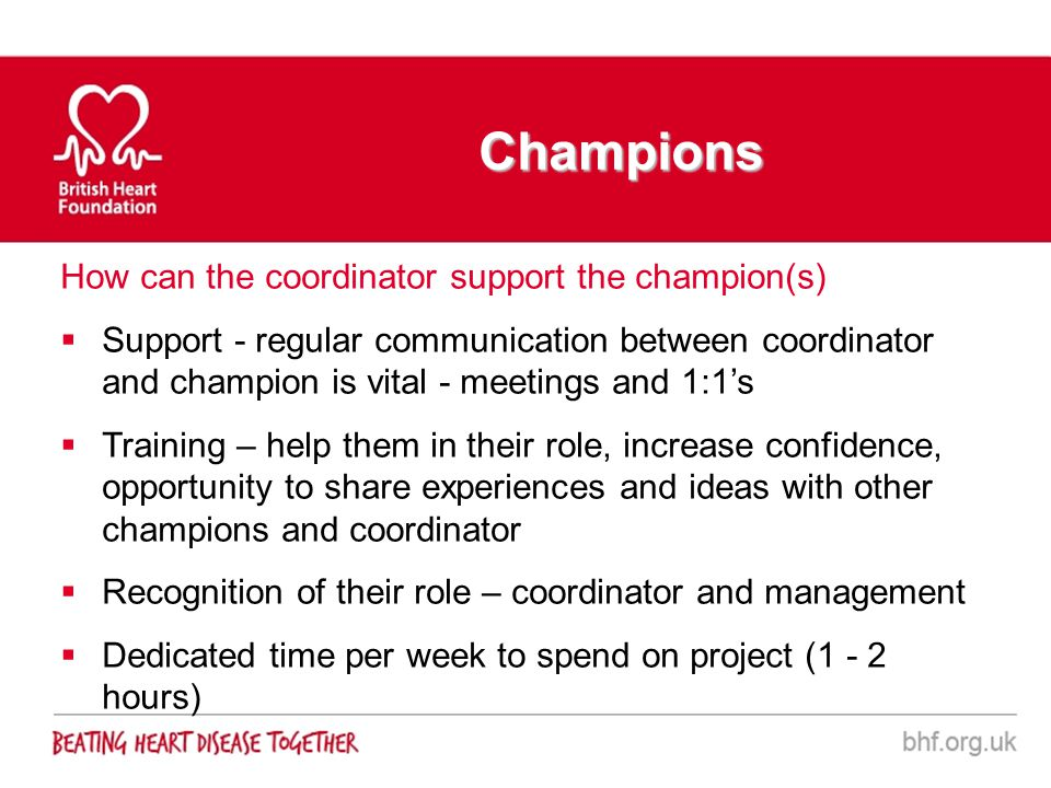 Champions How can the coordinator support the champion(s)