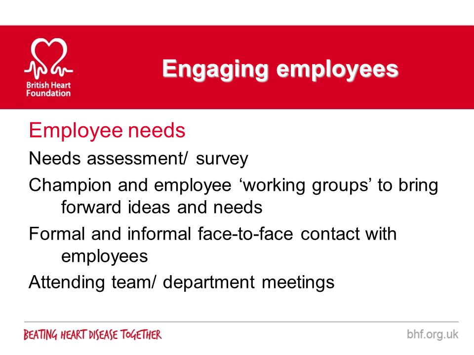 Engaging employees Employee needs Needs assessment/ survey