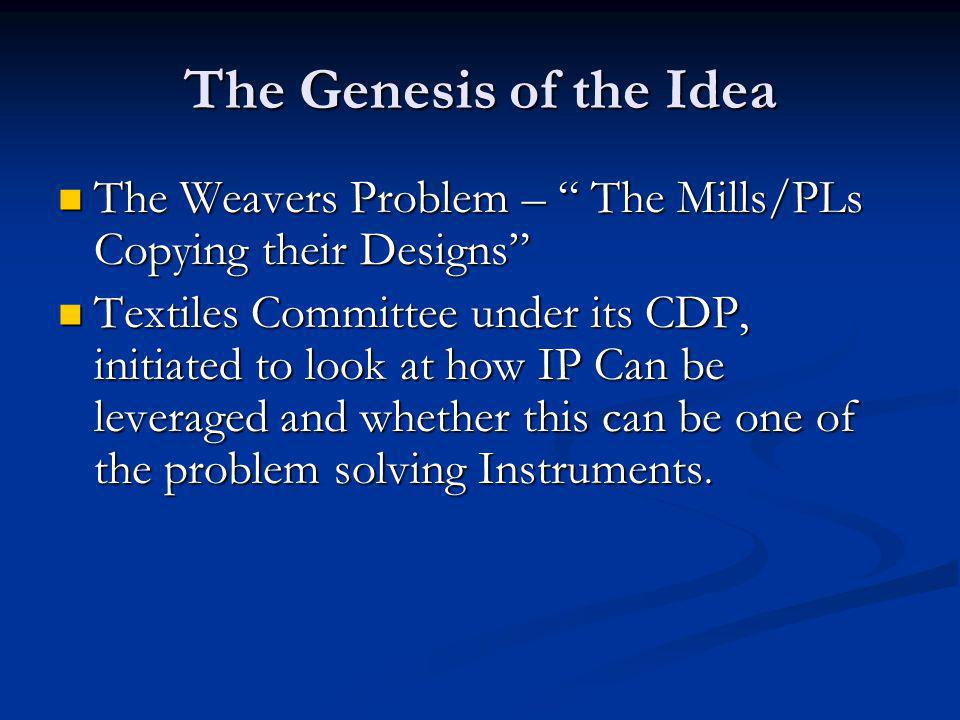 The Genesis of the Idea The Weavers Problem – The Mills/PLs Copying their Designs