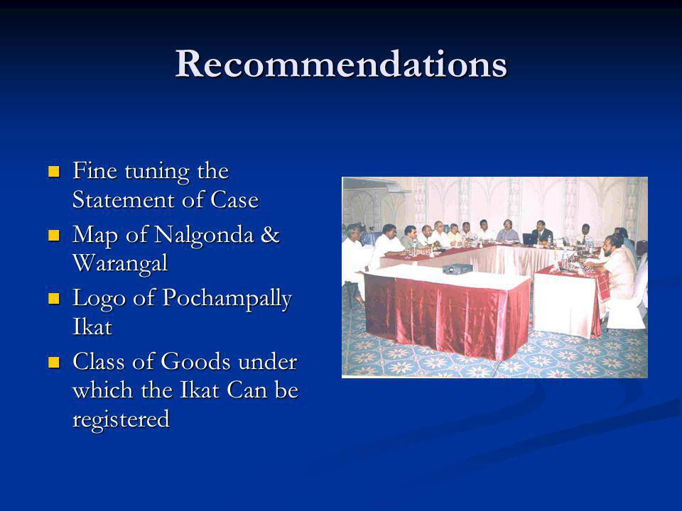 Recommendations Fine tuning the Statement of Case