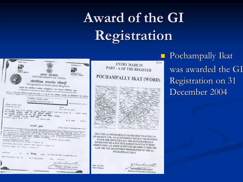 Award of the GI Registration