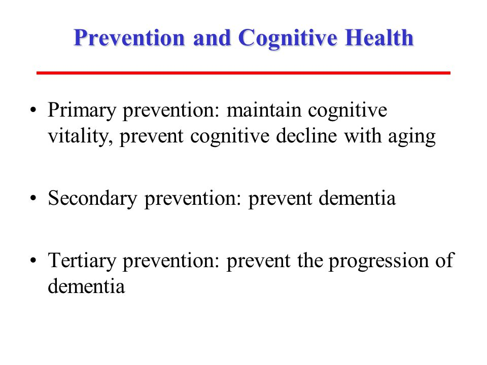 Prevention and Cognitive Health