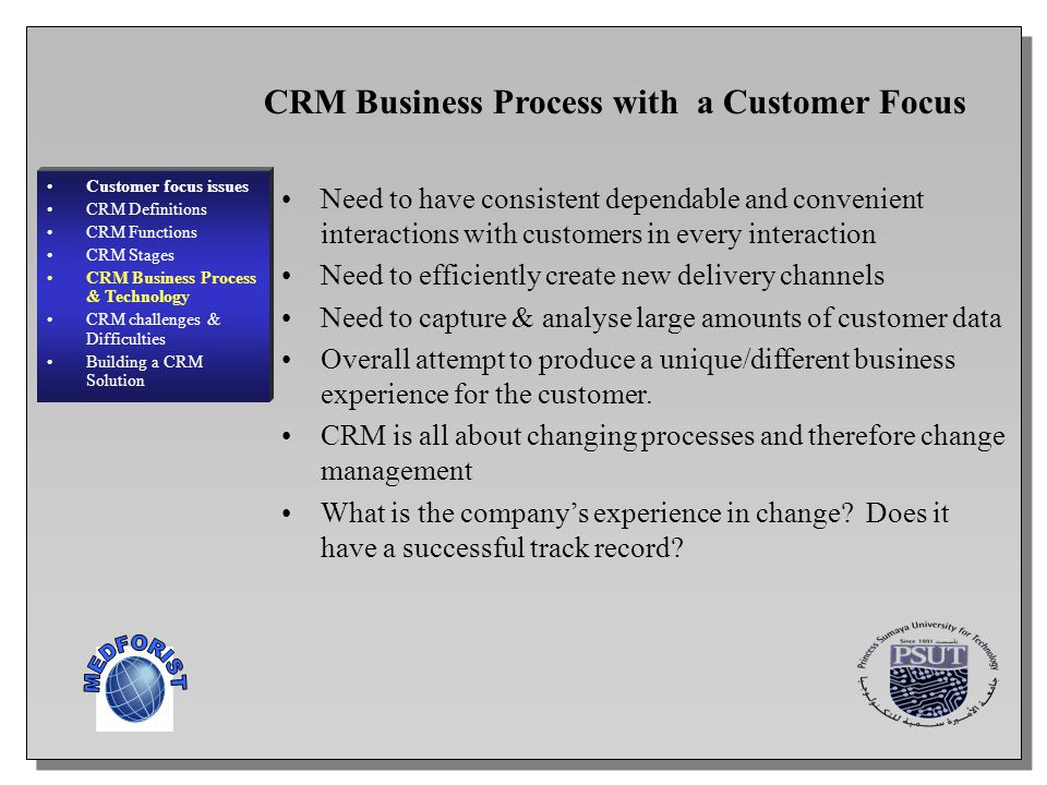 MEDFORIST CRM Business Process with a Customer Focus