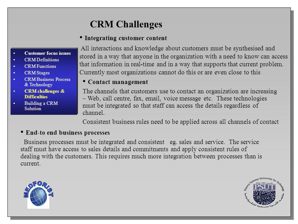 MEDFORIST CRM Challenges Integrating customer content