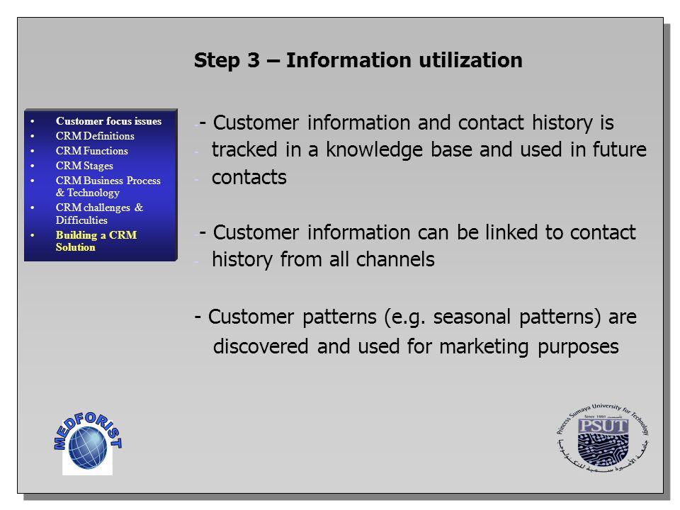 MEDFORIST Step 3 – Information utilization