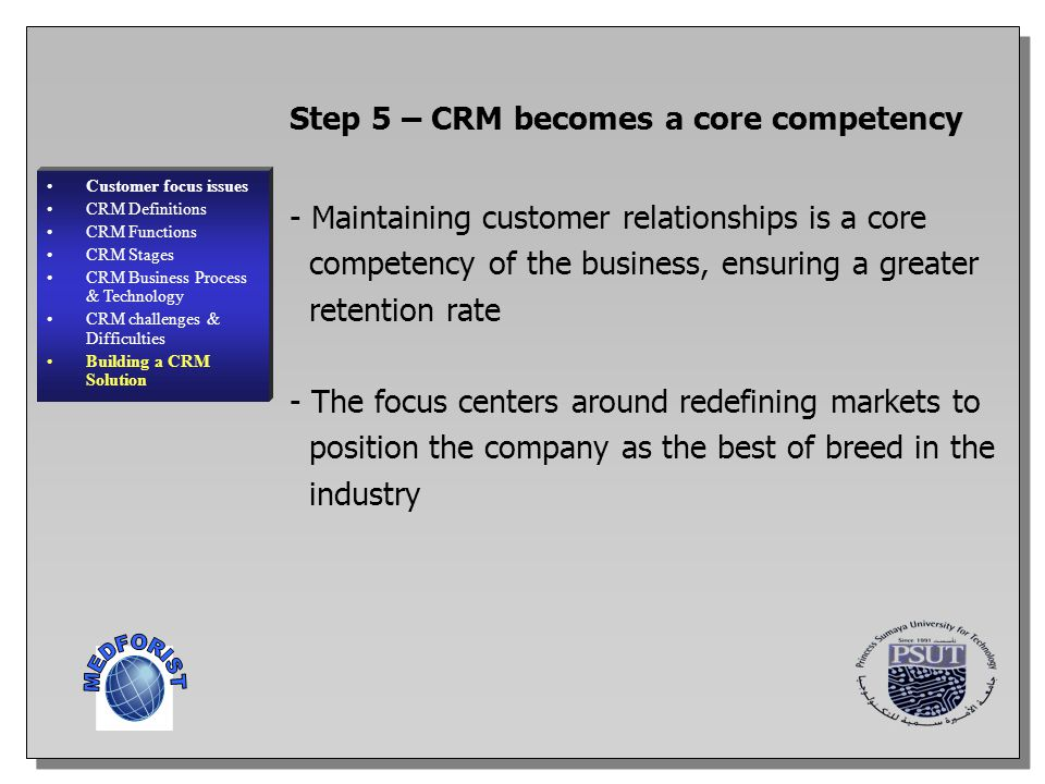 MEDFORIST Step 5 – CRM becomes a core competency