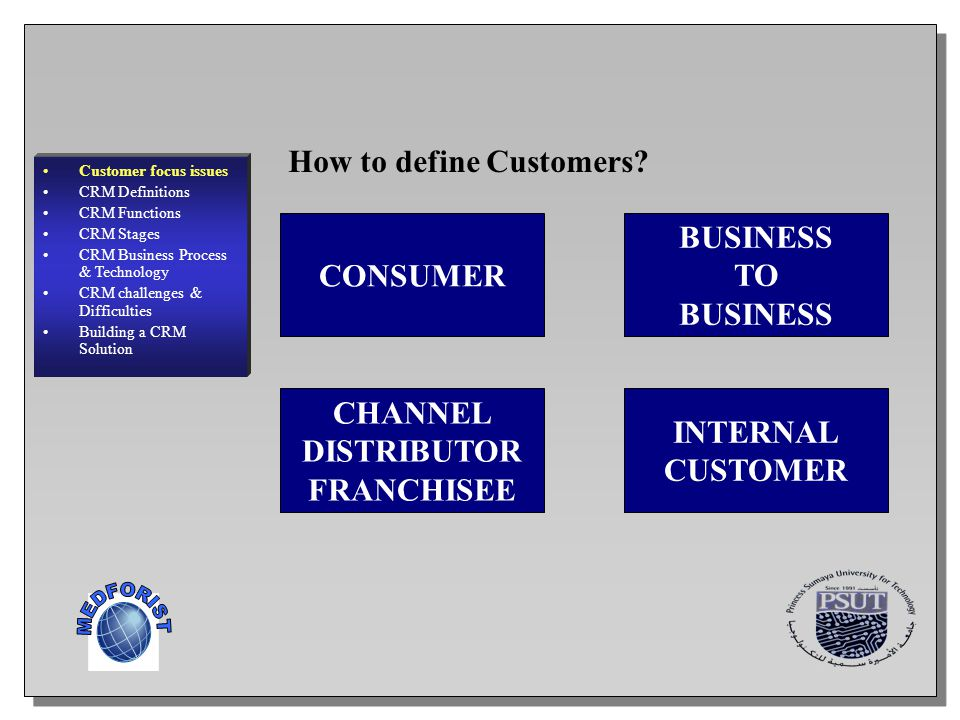 MEDFORIST How to define Customers BUSINESS CONSUMER TO CHANNEL