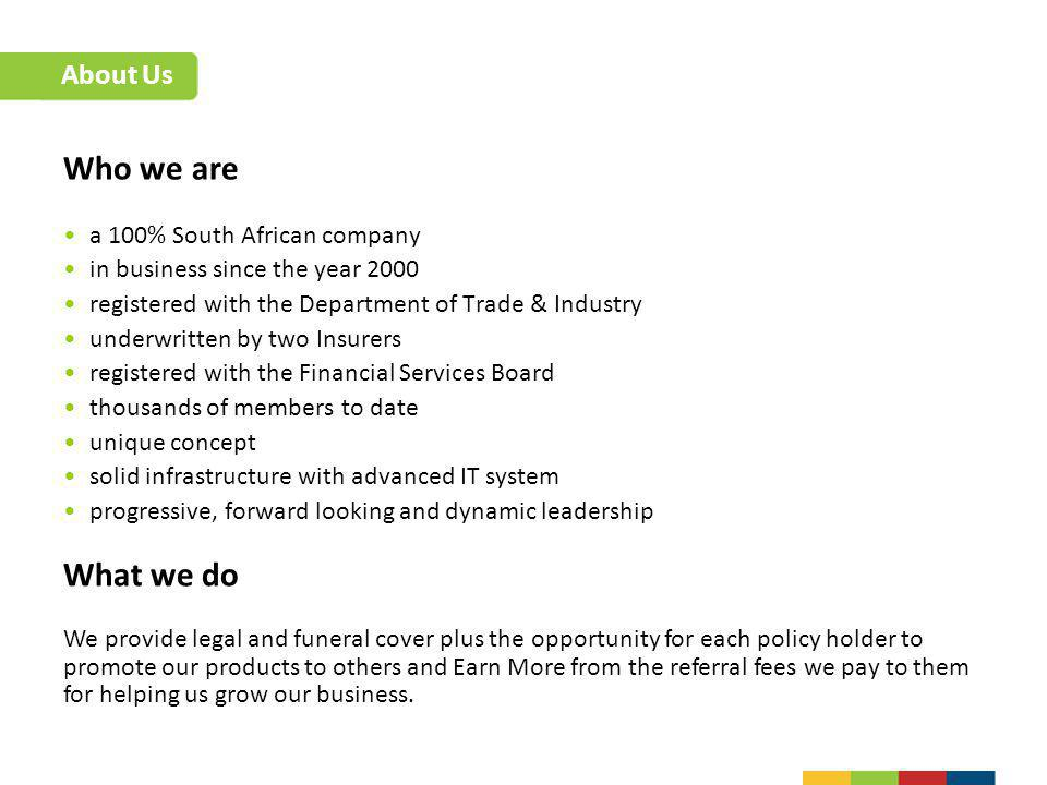 Who we are What we do About Us a 100% South African company