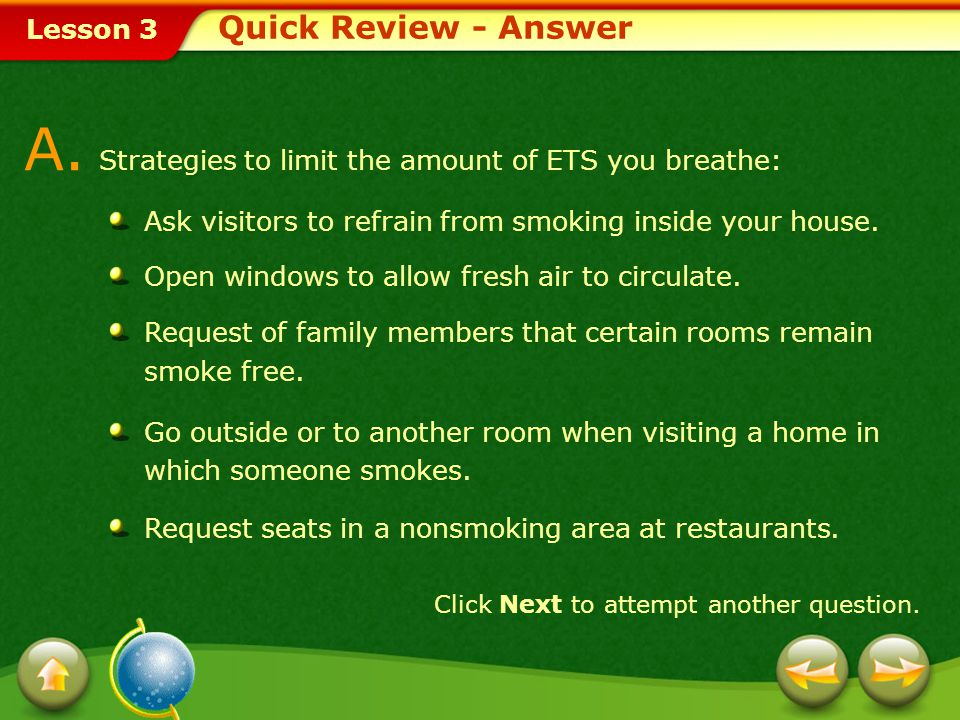A. Strategies to limit the amount of ETS you breathe: