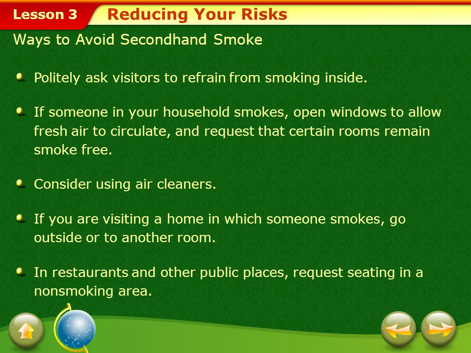 Reducing Your Risks Ways to Avoid Secondhand Smoke