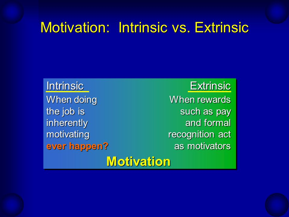 Motivation: Intrinsic vs. Extrinsic