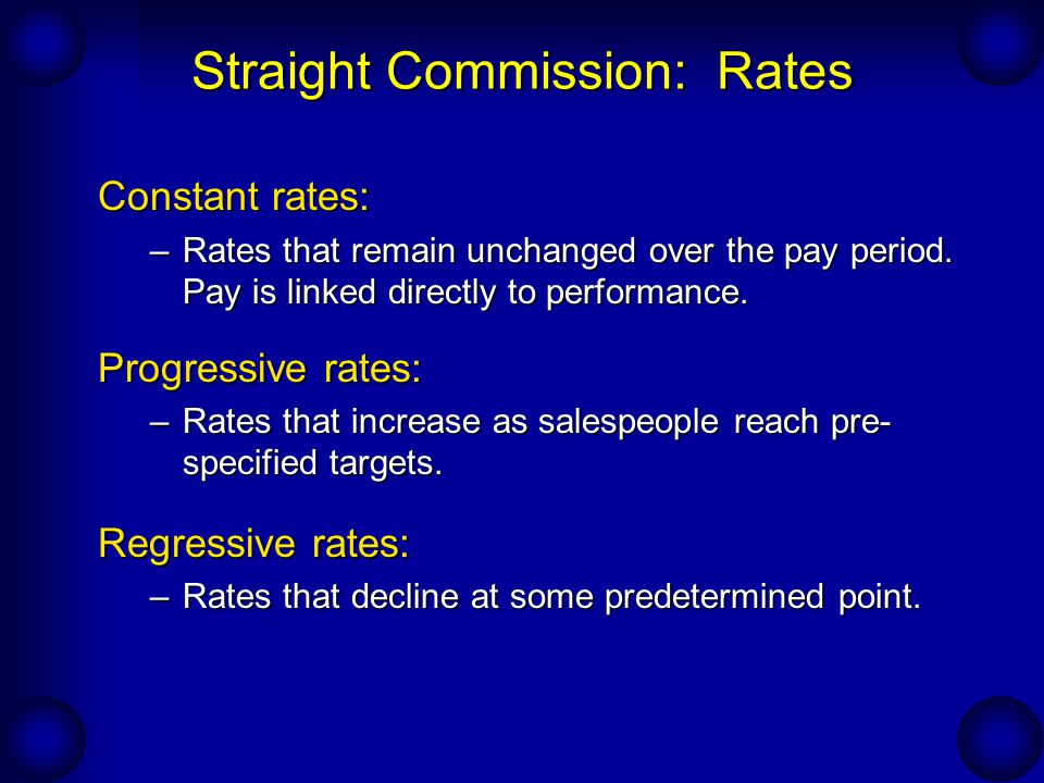 Straight Commission: Rates