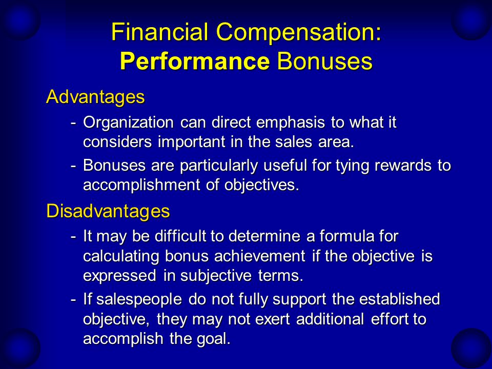 Financial Compensation: Performance Bonuses