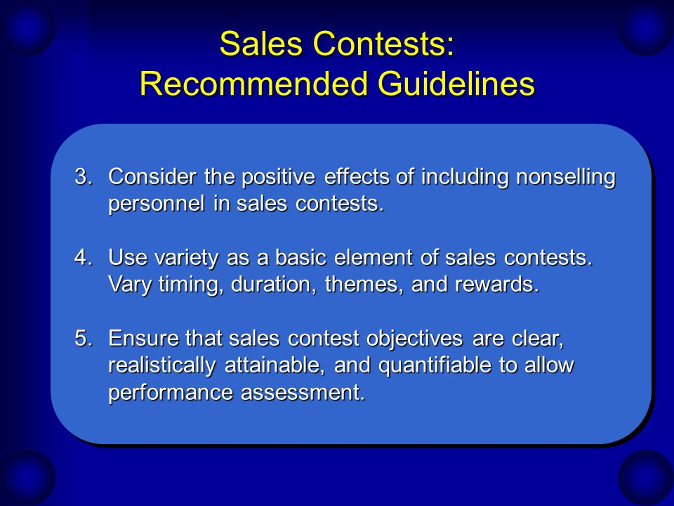 Sales Contests: Recommended Guidelines
