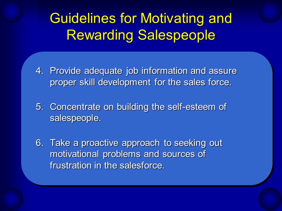 Guidelines for Motivating and Rewarding Salespeople