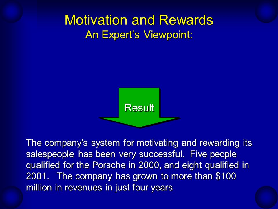 Motivation and Rewards An Expert's Viewpoint: