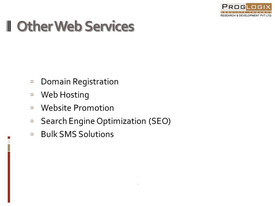 Other Web Services Domain Registration Web Hosting Website Promotion