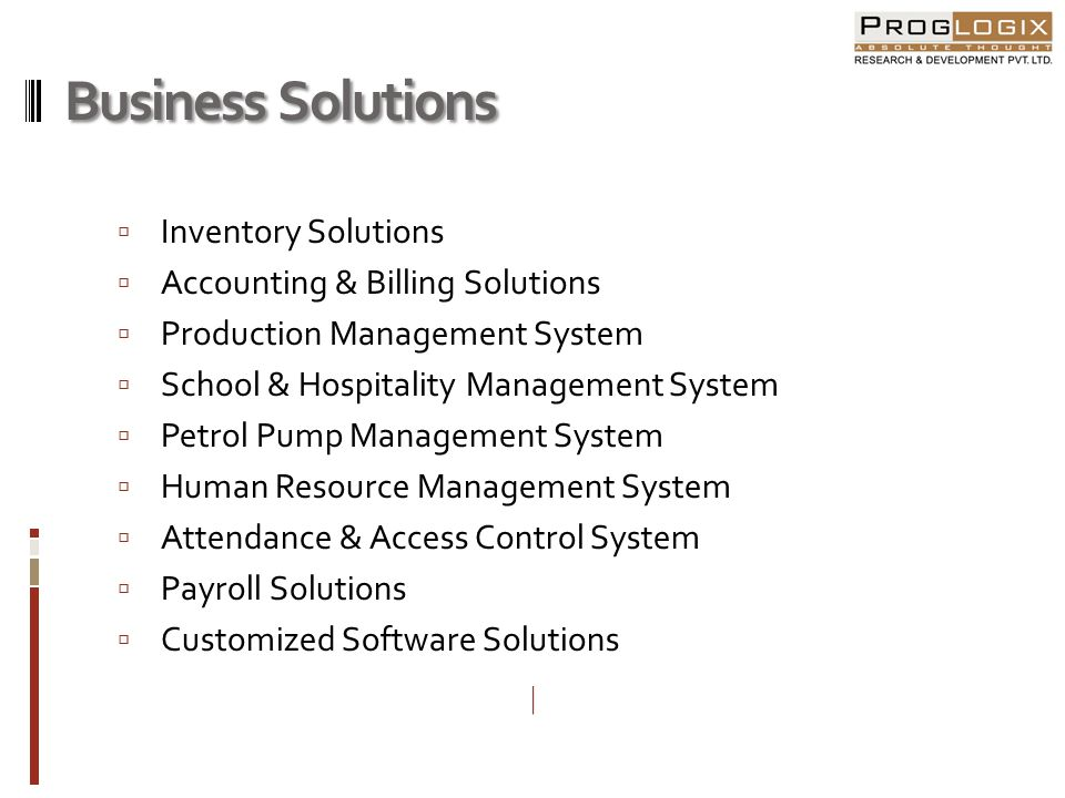 Business Solutions Inventory Solutions Accounting & Billing Solutions