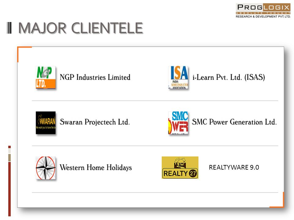 MAJOR CLIENTELE REALTYWARE 9.0