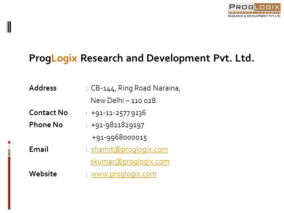 ProgLogix Research and Development Pvt. Ltd.