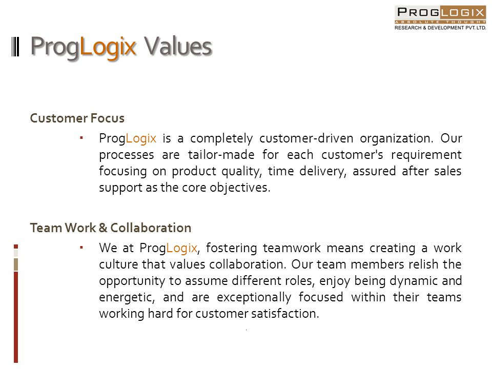 ProgLogix Values Customer Focus