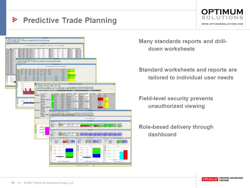 Predictive Trade Planning