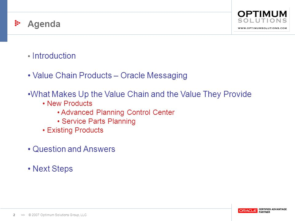 Agenda Value Chain Products – Oracle Messaging