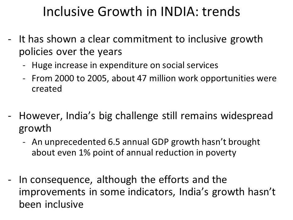 Inclusive Growth in INDIA: trends